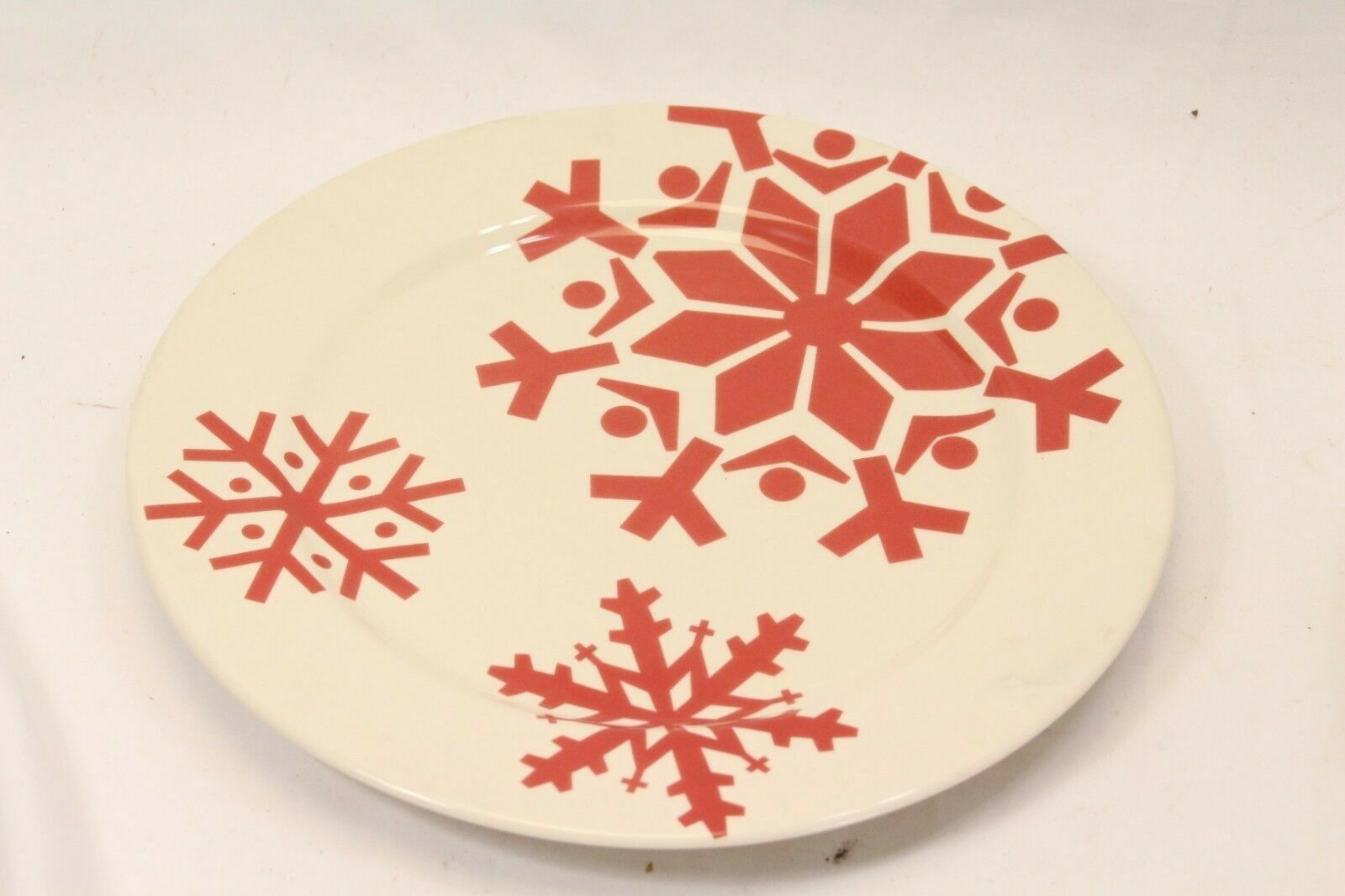 "Canterbury First Frost Red Snowflake Xmas Dinner Plates 10.75"" Lot of 8 image 6"