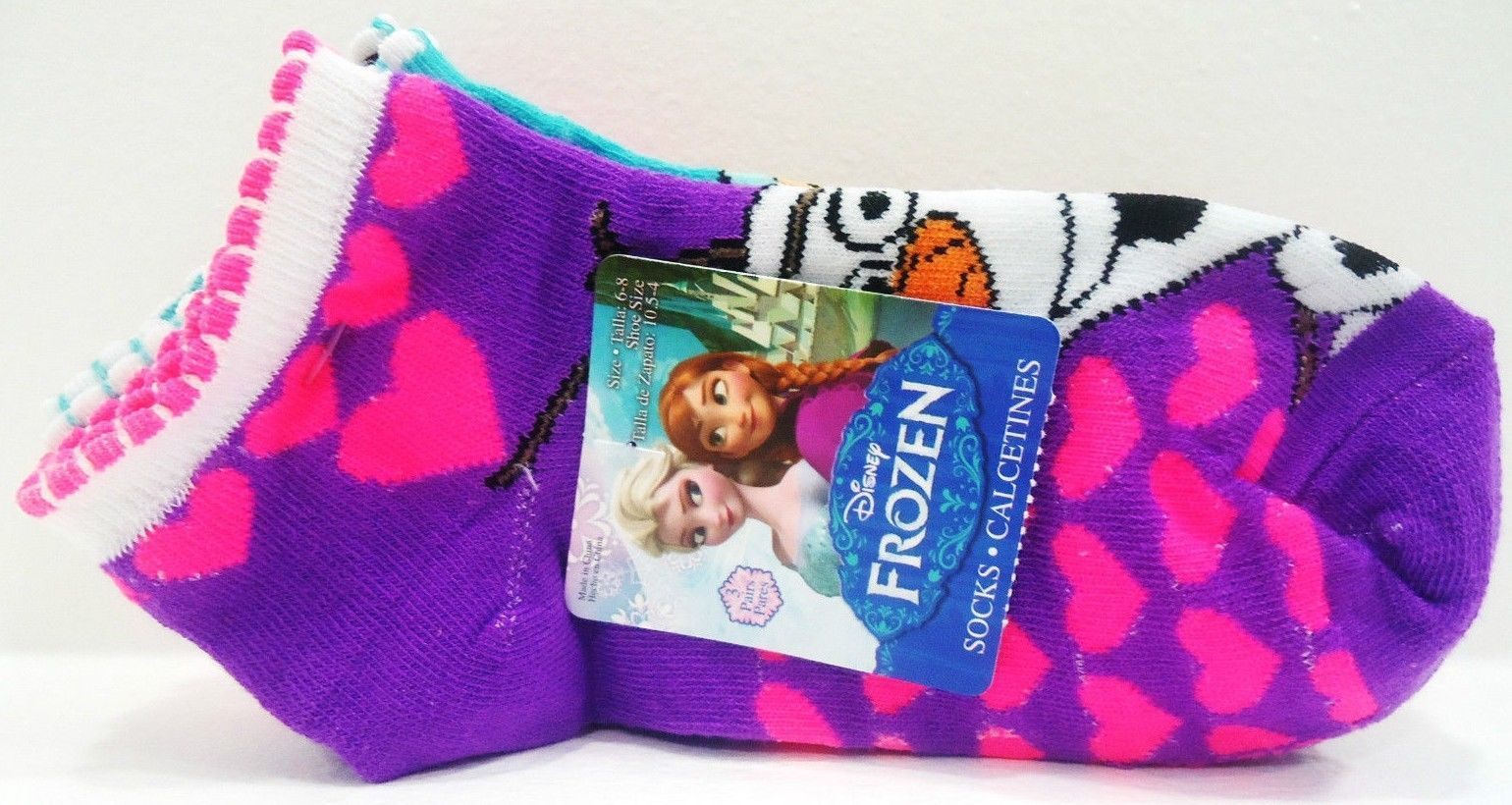 DISNEY - FROZEN - GIRL'S - (3) PACK - SOCKS - PURPLE - PINK - AQUA - BRAND NEW image 3