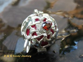 Sterling Silver Gecko Harmony Ball/ Pregnancy Ball (20mm) with Garnet HB... - $23.50