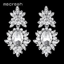 Mecresh Korean Silver Color Big Wedding Drop Earrings for Bride Cute Rhi... - $18.13