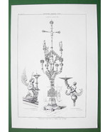 ARCHITECTURE PRINT : CANDELABRA in Churches at Nuremberg Angels Christ - $8.77