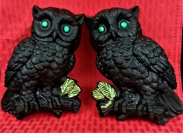 VTG HOME INTERIOR SET/TWO CERAMIC BLACK OWLS W/GREEN EYES IN ORIGINAL BOX - $23.70