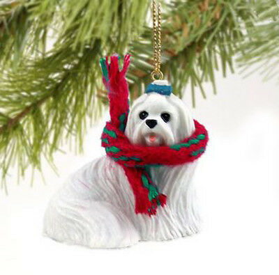 Primary image for MALTESE DOG CHRISTMAS ORNAMENT HOLIDAY  Figurine gift scarf