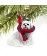 MALTESE DOG CHRISTMAS ORNAMENT HOLIDAY  Figurine gift scarf - $10.99