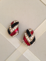 Vintage Crystal Rhinestone Red And Black Enamel Fashion Clip On Earrings - $35.00