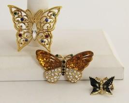 VINTAGE & FASHION Jewelry 3 PIECE FIGURAL BUTTERFLY BROOCH LOT - $15.00