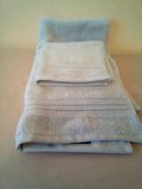 FIELDCREST 2Pc  Towel Set 100%Cotton 1 HAND Towel & 1 Washcloth Glowing Blue - image 2
