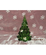"FENTON ART GLASS  7.25"" EMERALD GREEN CHRISTMAS TREE W/HOLLY BERRIES - $135.00"