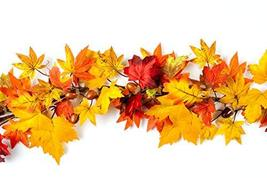 "CraftMore Lexington Fall Garland 72"" Mixed Autumn Leaves image 2"