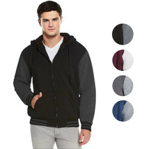 Men's Hooded Soft Sherpa Fleece Lined Varsity Zip Up Two Tone Hoodie Jacket