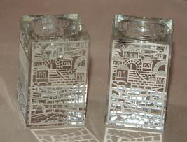 Judaica Crystal Candle Holders Candlesticks Shabbat Silver Plaque Jerusalem image 2