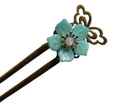 Lake Green Floret Hairpin Hair Jewelry Hair Styling Retro Palace Headdres image 2