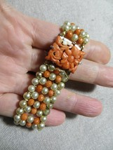Edwardian/Art Deco Salmon Coral/Faux Pearls Beaded Bracelet Carved Floral Clasp - $149.99