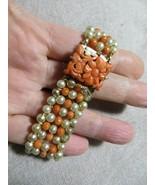 Edwardian/Art Deco Salmon Coral/Faux Pearls Beaded Bracelet Carved Flora... - $149.99