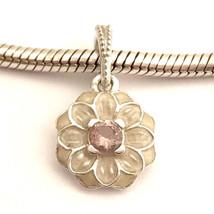 Pandora Auténtico Blooming Dalia Charm Colgante, Crema Esmalte 791829NBP Nuevo - $56.98