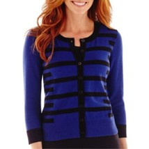 Liz Claiborne 3/4-Sleeve Geo-Striped Cardigan Sweater Size M, L New $48 - $19.99
