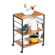 3-Tiers Kitchen Microwave Cart Vintage Rolling Bakers Rack Stand storage - $83.57
