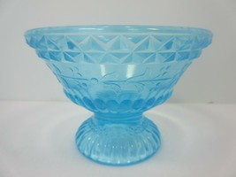 Vintage Blue Aqua Footed Glass Floral Desert Bowl Dish 2.75 In High - $7.20