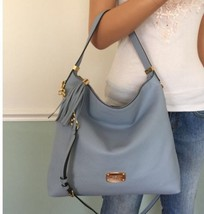NEW! MICHAEL KORS Bedford Blue Leather Large Shoulder Crossbody Bag Hobo... - $159.95