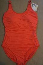 Calvin Klein One Piece Sz 6 Mandarin Pleated UV 50+ Tank Swimsuit CG6MS064 - $49.44