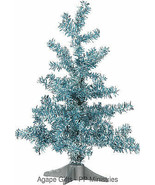 PBK Christmas Tinsel Trees - Blue & Silver FROZEN 12inch 2pc. Set #28864 - $14.95