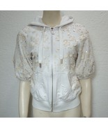 Juicy Couture Sparkle Hoodie Off White Embellished Lined Short Sleeve To... - $26.73