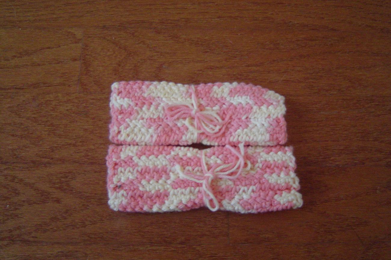 New Hand Crocheted Dishcloths -set of 2-Peach & Cream