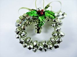 Metal Jingle Bells Wreath 10 Inch Pale Gold Tone Tightly Clustered Chris... - $18.81