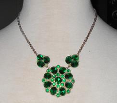 1900s necklace emerald paste antique Art Deco jewelry silver pot metal F... - $45.00