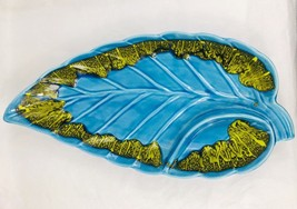 Vintage California Pottery Blue And Yellow Leaf Shaped Serving Dish Collectible - $23.38