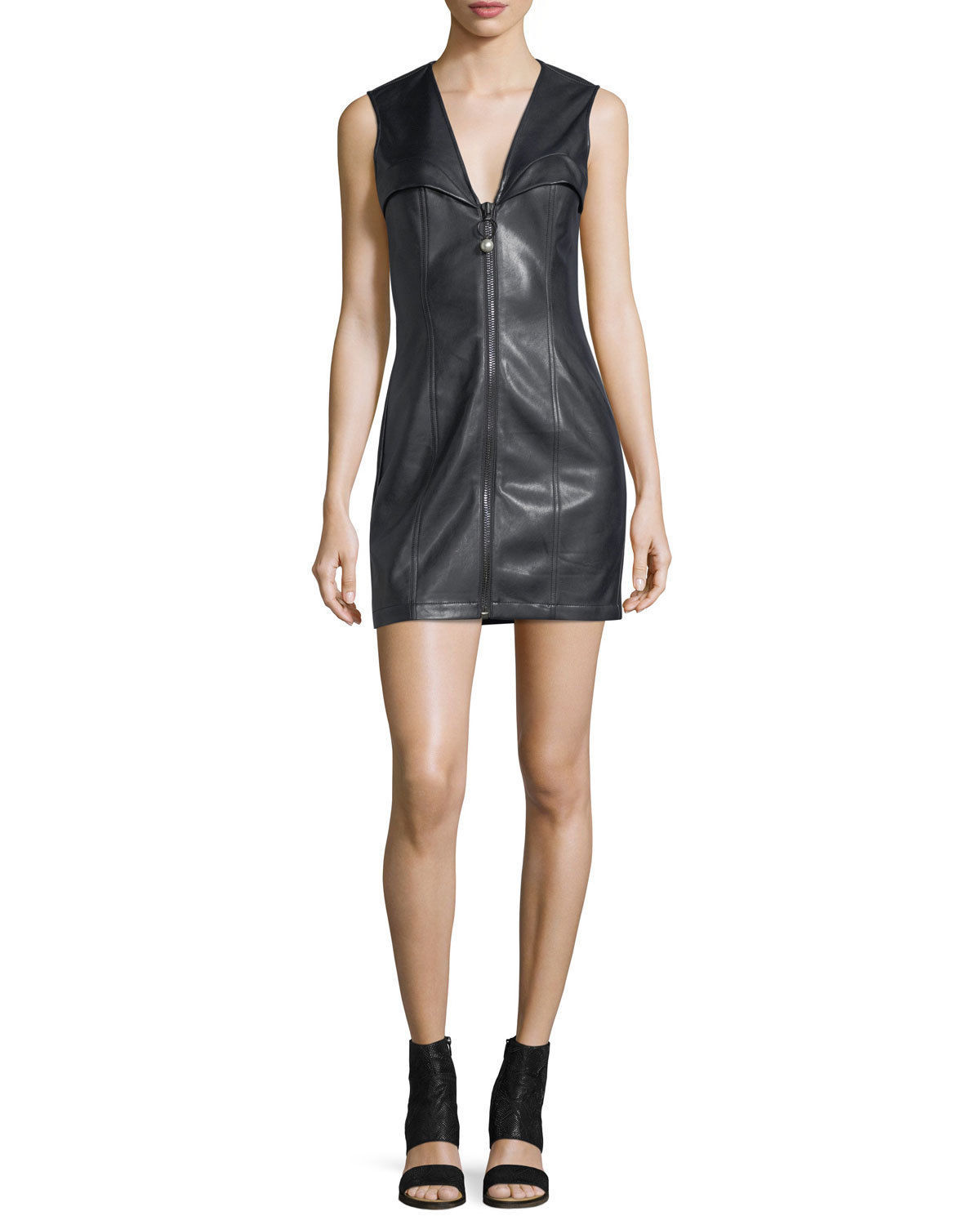 Bustier sleeveless Center Zip-Front Genuine Leather Lambskin Party Dress-GW41