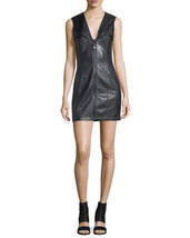 Bustier sleeveless Center Zip-Front Genuine Leather Lambskin Party Dress... - $185.00