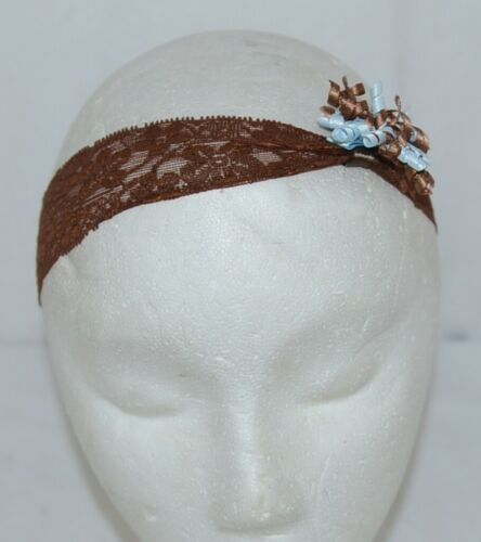 Unbranded Brown Lace Strech Headband Brown Removeable Blue Curl Ribbon Bow