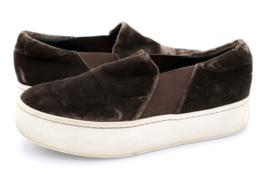 Vince Womens 6 Brown Velvet Warren Slip On Low Top Platform Sneakers Shoes - $44.99