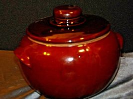 Glazed Ceramic Brown Bean Cook Pot with Lid AA19-1624 Vintage USA image 8