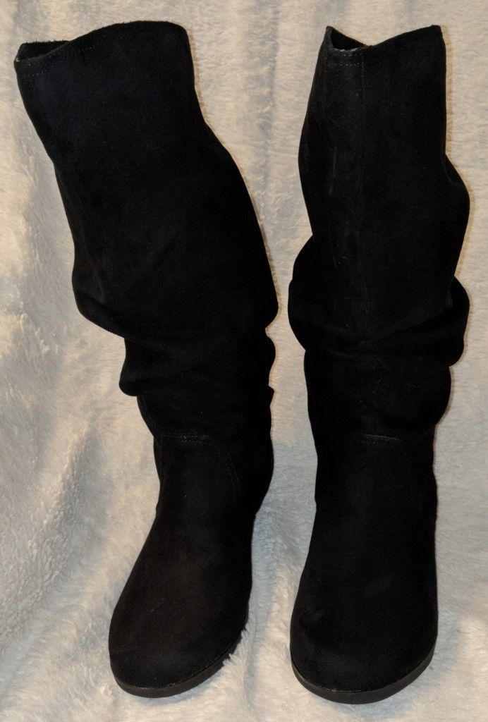 Arizona Jeans Co Pull On Textile Black Boots Size 7 1/2M