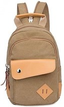 Topsung Leather Canvas Mini Backpack Brown - $63.49