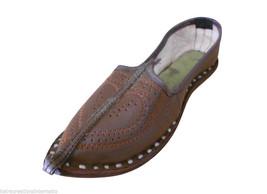 Men Shoes Indian Handmade Mojaries Leather Brown Espadrilles Flat Jutties US 8  - $34.99