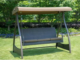Swing With Stand Patio Porch Bench Canopy Wicker Seat Heavy Duty Frame 8... - $431.19