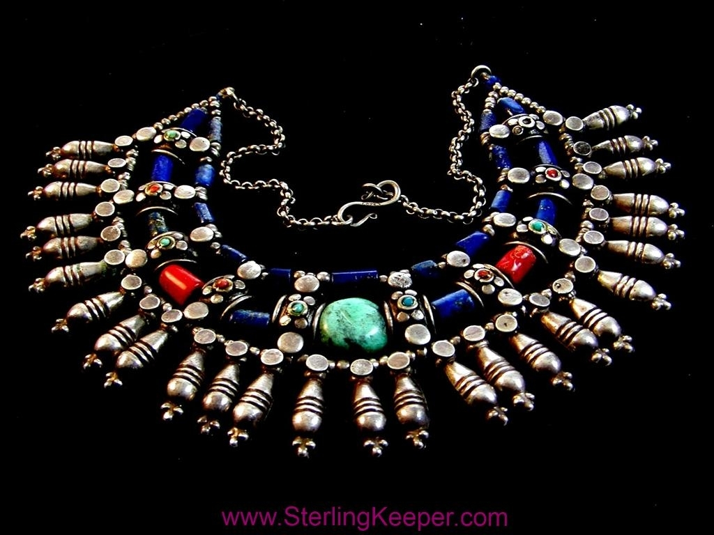 Vintage Egyptian Tribal Sterling Silver Turquoise Lapis Coral Necklace Choker 16