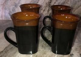 Royal Norfolk Black/Brown Stoneware Coffee Mugs Dinnerware Cups-Set Of 4-SHIP24H - $29.58