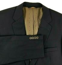 Joseph & Feiss Gold Blazer Mens Size 48 L Navy Blue Two Copper Tone Butt... - $39.56