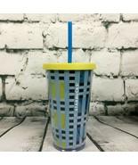 STARBUCKS 2018 Yellow & Blue PLAID Travel Tumbler 16oz Plastic Cold Cup Grande - $11.83