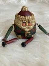 Vtg Lefever Round Roly Poly Santa Figure Folk Art Shelf Sitter Enesco Wood - $24.74