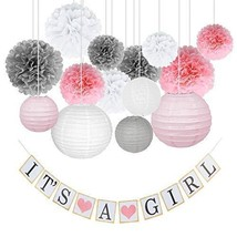 Mr. Kukenan Pink White Grey It´s A Girl Baby Shower Decoration Set - $23.37