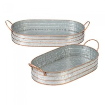 Oblong Galvanized Metal Tray Duo - $44.78