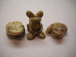 SET OF 3 Vintage STONE Frog FIGURINES All TURQUOISE Eyes VARIOUS Designs - $228.53