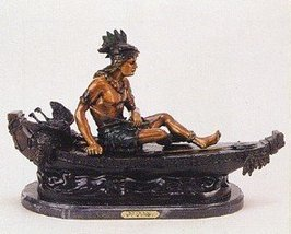 """""""Boy on The Boat"""" Collectible Solid Bronze Sculpture Statue By C. M. Russell - $1,051.05"""