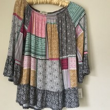Style & Co Patchwork multi-color Petite Medium TOP BLOUSE. Current style... - $19.99