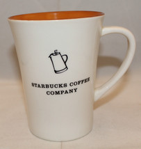 Starbucks Coffee Company 2006 White Orange Tall Coffee Tea Mug Cup Pot Wide Rim - $31.60